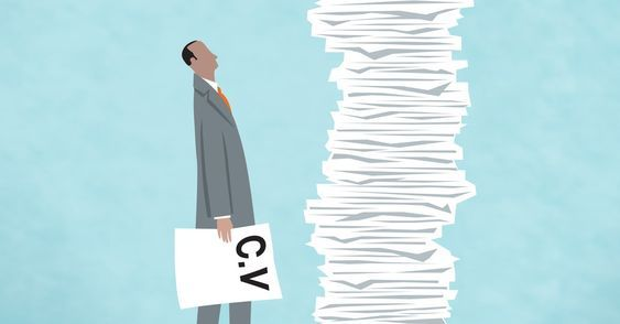 a pile of cv/resumes