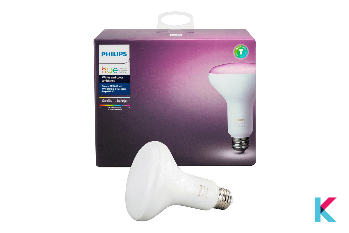 Philips Hue White and Color Ambiance BR30 LED Smart Flood Light is the best floodlight with Alexa voice control.