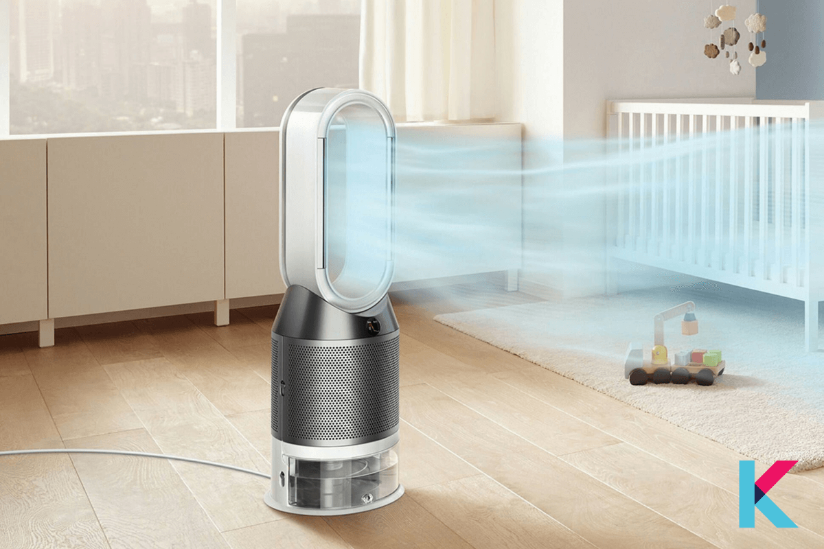 The Dyson Pure Humidify + Cool is perfect for your home to purify the air. It is a humidifying fan with HEPA filtration.