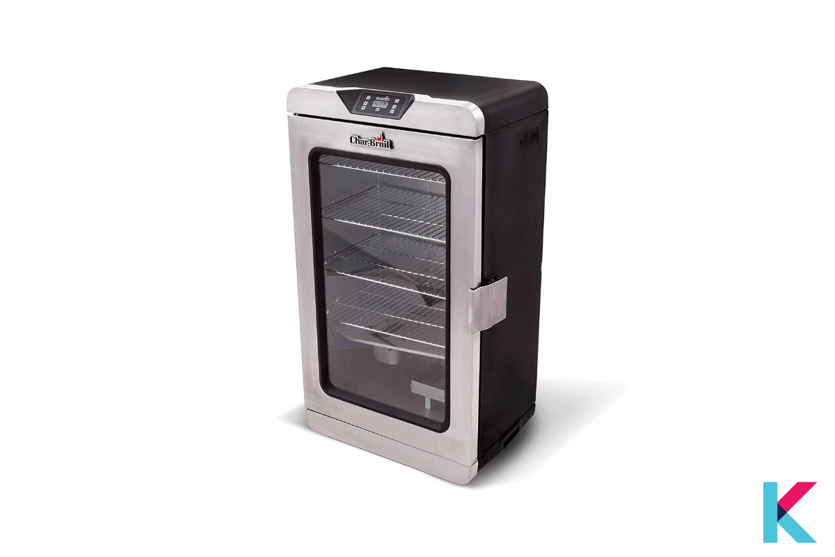 The Broil Deluxe Digital Electric Smoker is a famous electric smoker with 725 square inches. There is double insulation.