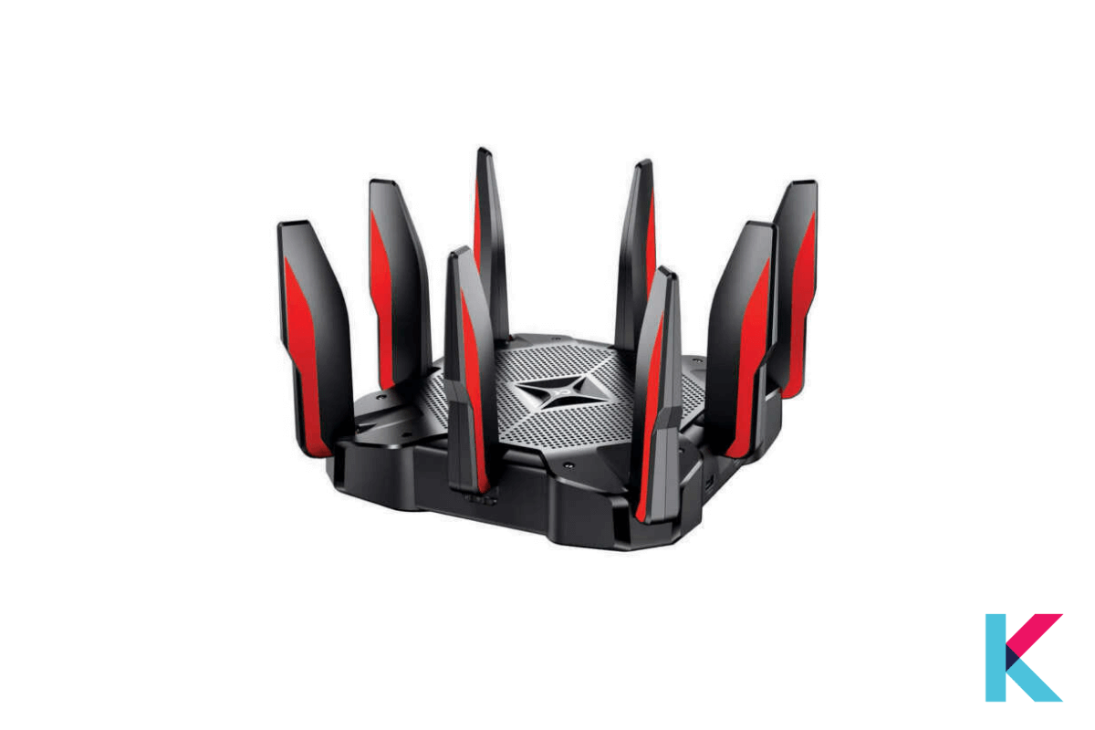 TP-Link Archer AX11000 Next-Gen Tri-Band Gaming Router is a high-end gaming router with a black textured cabinet and red accented antennas.