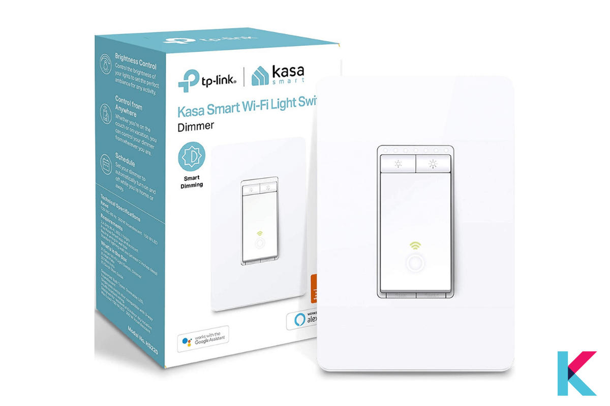 TP-Link Kasa Smart Wi-Fi Light Switch Dimmer is designed to dim energy efficiently with convenient control from the Kasa app or with the wall switch.