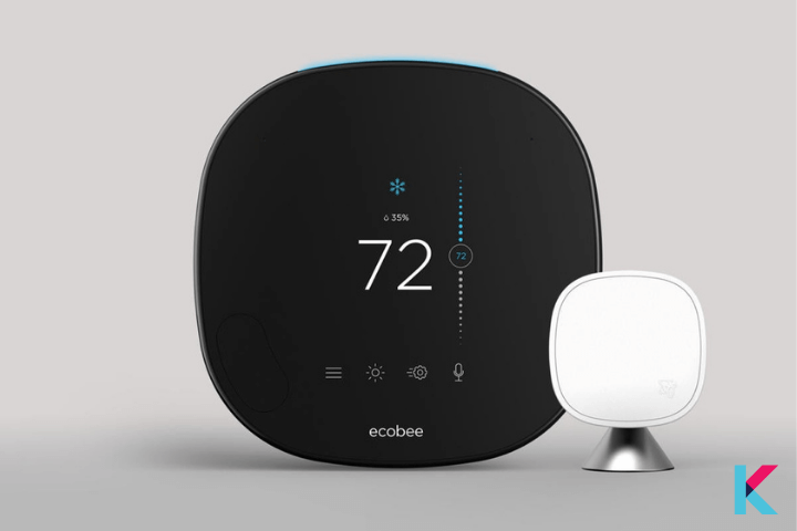 Ecobee smart thermostat with voice control is Echobee's newest model with a new remote sensor.