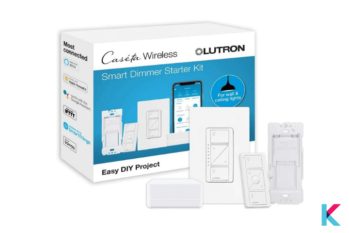 Lutron Caseta Dimmer Switch Starter Kit is the best dimmer switch for HomeKit users. It works with any table or desk lamp.
